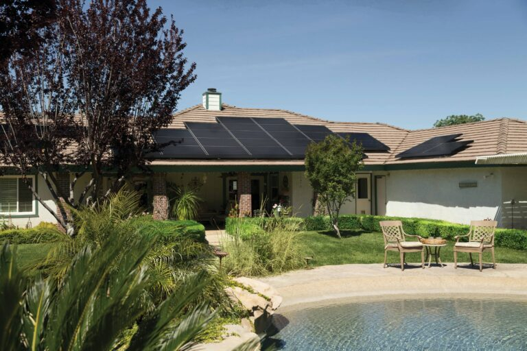 Picture showing residential with solar panels